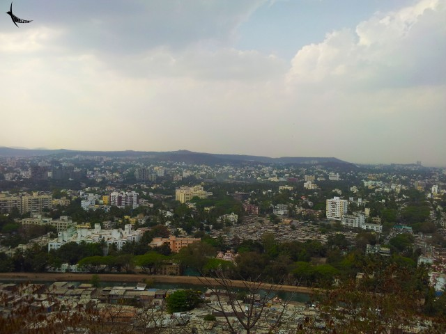 The bird's eye view of the city from the Parvati hills