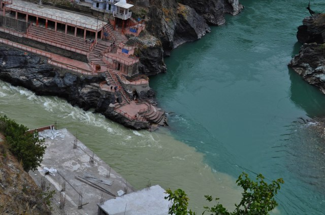 Devprayag - Bhagirathi in the left and Alkananda in the right
