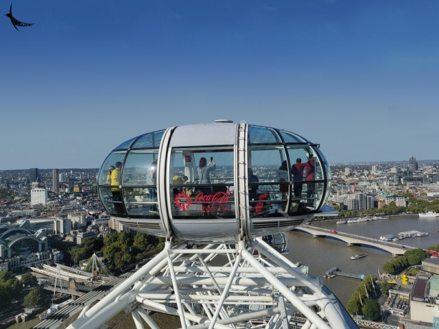 The passenger capsule of London Eye overlooking the cityscape