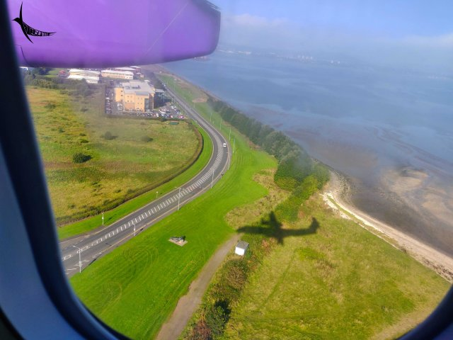 We are about to land in George Best Airport, Belfast