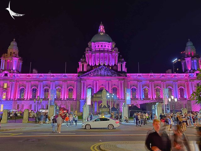 The city hall illuminated for the cultural night