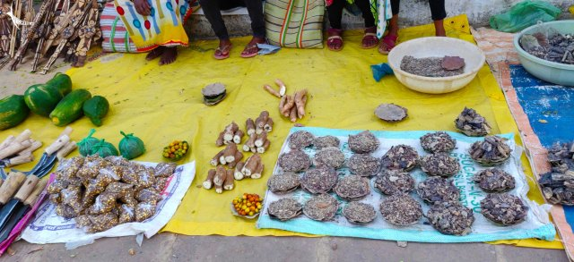 And some local produce, tubers and inscence ('Dhoop')