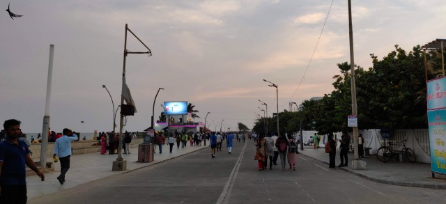 The crowded promenade in the evening
