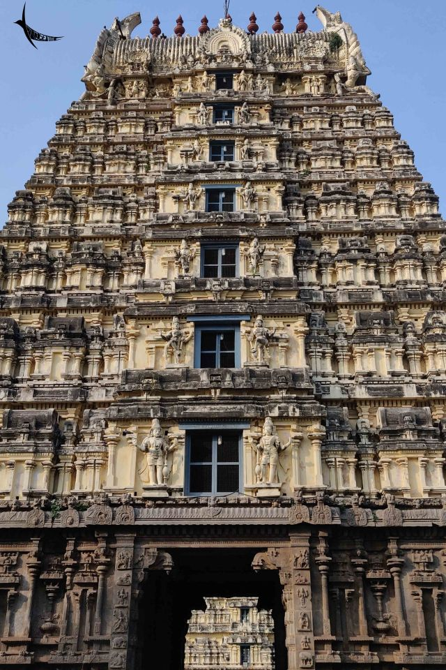 The Gopura and the intricate carving of the Jalakanteshwara Temple