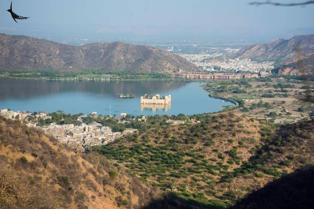 The view of the Man Sagar with the Jal Mahal from Jaigarh Fort